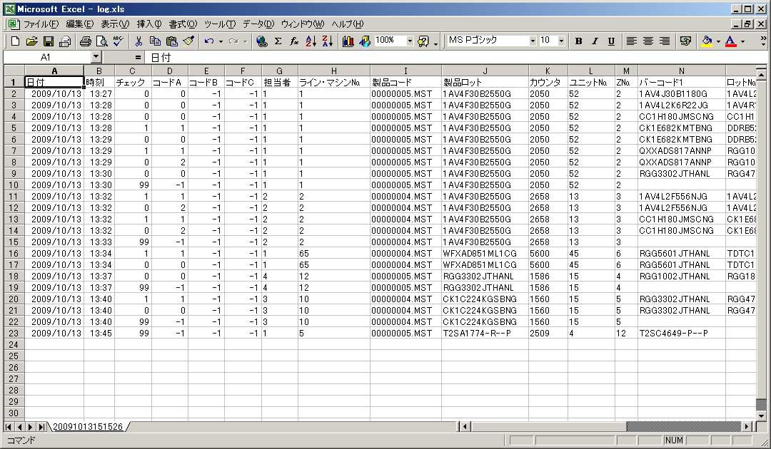 ログ出力ファイル一例